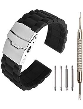 JSDDE Schwarz Silikon Uhr Armband Wasserdicht Taucheruhr Band Edelstahl Faltschließe mit Federstegwerkzeug,22mm