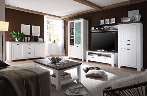 Wohnzimmer Akazie weiß 6-teilig Landhausmöbel