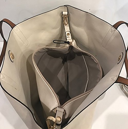 Borsa Donna Con Pochette Tote Shopper Materiale Liscio 50x35x15 cm Beige