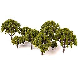 OUNONA 20 stücke Modell Landschaft Landschaft Bäume Decor Künstliche Miniatur Matt Micro Landschaft DIY Handwerk Garten Ornament 3 CM-8 CM (Grün)