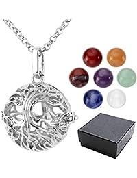 JSDDE 7 Chakra Reiki Healing Crystal Ball Locket Pendant Necklace w/8mm Gemstone Bead
