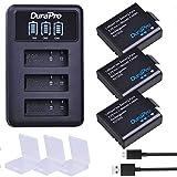 DuraPro PG1050 Sj4000 Akku und LED 3 Slots USB-Ladegerät für AKASO EK5000 EK7000 SJCAM SJ4000 SJ5000 EKEN M10 4K H8 H9 H9R H8R GIT-LB101 GIT PG900, 1180 mAh, 3 Stück