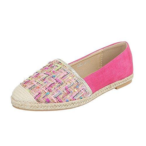 Slipper Damenschuhe Low-Top Blockabsatz Moderne Ital-Design Halbschuhe Pink Multi