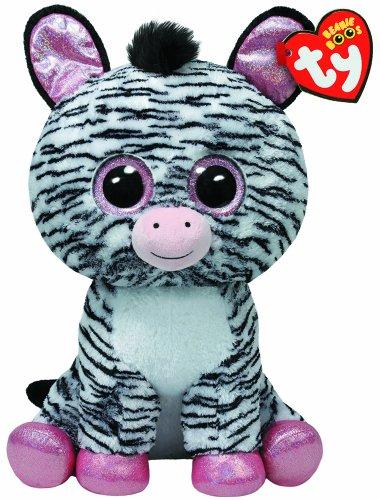 TY 36734 - Izzy Boo - Zebra mit Glitzeraugen, rosa glitzernde Ohren und Füße, Übergröße, 42 cm