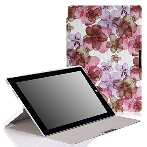 MoKo Microsoft Surface Pro 3 Hülle - Ultra Slim Lightweight Schutzhülle Smart Cover mit Standfunktion für Surface Pro LTE? Microsoft Surface Pro 3 12 Zoll Tablet,Blumen-Violett