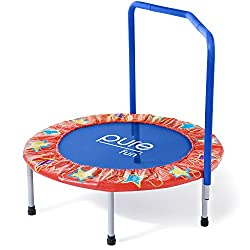 "Pure Fun Kids 36"" Mini Trampoline With Handrail, Youth Ages 3 To 8"