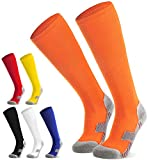 Fußballsocken Stutzen Kinder Jugendliche Socken Fußball Strümpfe - Sportsocken Trainingssocke Sockenstutzen - für Fußball, Laufen, Training (Orange L)