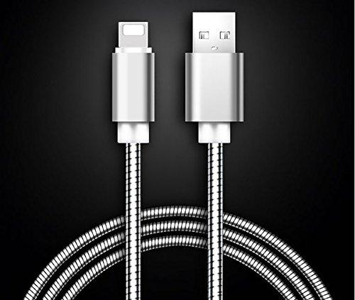 LoongGate Lighting Metallkabel - Flexibles Rohrfederschild Verstärktes Kabel - 5V 2.1A USB Lade- und Synchronisierungskabel für iPhone 8/8 Plus, 7/7 Plus, iPhone, iPod und iPad - 1 Meter (3.2ft) - Silber