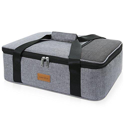 Lifewit borsa frigo grande borsa termica borsa pranzo pizza per mantenere il cibo caldo o freddo per feste potluck, picnic, spiaggia (grigio singolo strato)