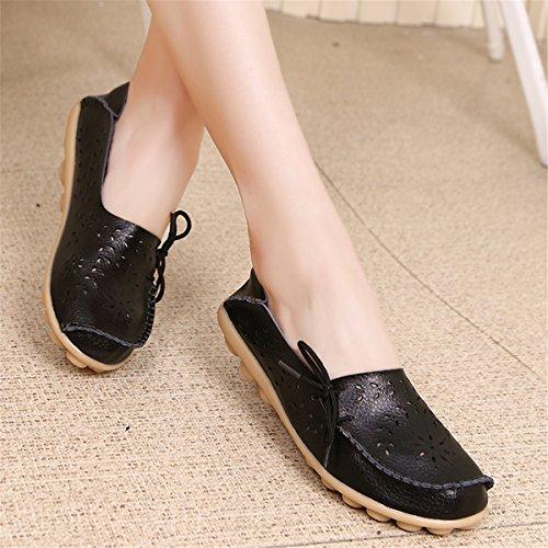 AFFINEST Mocassins Femmes Loisirs Creux-dehors Confort Chaussures Plates Loafers en PU Cuir Chaussures de Conduite Noir