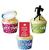 PaRTY Fun Lot de 36 X Rugby Ballon de Rugby acteurs de terrain en Papier comestible prédécoupé pour décorations de gâteaux sur pied Boy's cupcakes d'anniversaire
