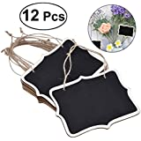 ROSENICE 12pcs Mini Chalkboards Rectangle Blackboard Tags Hanging Message Board Signs for Weddings Kids Crafts