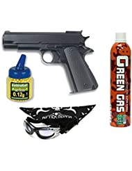 Pack Pistola airsoft HFC G16 negra. Funcionamiento por gas. Calibre 6mm. + Gas + Gafas antivaho + Biberon 1000 bolas