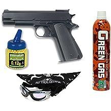 Pack Pistola airsoft HFC G16 negra. Funcionamiento por gas. Calibre 6mm. + Gas + Gafas antivaho + Biberon 1000 bolas. 18398/53385/21993