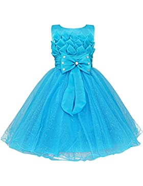 YiZYiF Baby Mädchen Kleid Schleife Lotus Blumenmädchenkleid Hochzeit Festlich Kleid Taufkleid Tüll Festzug Gr....