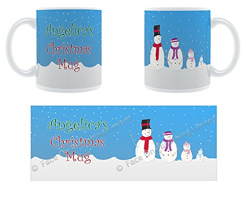 Angelica's-Mug La Famille de neige de Noël Design tasse en céramique Motif Chunky