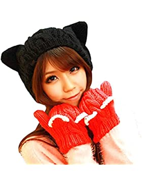 FEITONG Negro de invierno UNICORNIO Orejas de gato Las flores de cáñamo sombrero hecho