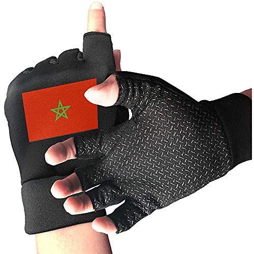 c-sky Marokko Flagge Beil Mann Handschuhe für Männer und Frauen rutschfeste Sport Radfahren Workout Half Finger Handschuhe