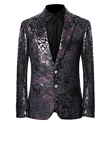 Men's Luxury Casual Velvet Dress Suit Slim Fit Floral Prints Stylish Blazer Coats Chic Jackets