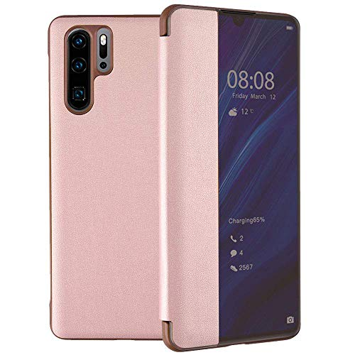 Caler Hülle Kompatibel Huawei Mate 20 Pro Hülle,Smart Case-Ansicht, Spiegel Cover Clear View Crystal Case Flip Intelligenten Schutzhülle Handyhülle etui Huelle mit Frau Mirror Tasche Ledertasche