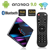 H96 MAX Android 9.0 TV Box 4GB RAM/32GB ROM Quad Core 64-bit Chipset 3D / 4K Stereo HD Image Support USB 3.0 / BT 4.0/2.4G 5G Dual WiFi Smart Android TV Box
