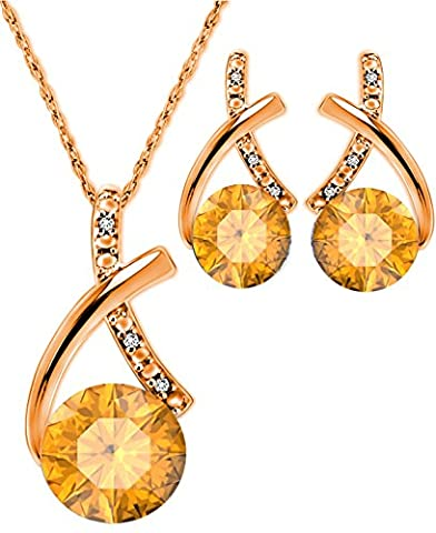 Pretty Jewellery Rose Gold Finish 925 Sterling Silver Round Yellow Citrine & Simulated Diamond Solitaire Stylish Pendant & Earrings