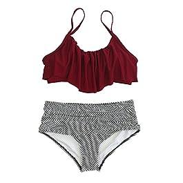 31fd83b36681 BLZ Bikini Vita Alta Mare Push Up Sopra Puro Rosa Falbala Sotto a Righe Costumi  da ...