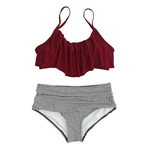NAYOOTON Donna Bikini Set Vita Alta Push Up Due Pezzi Costume da Bagno per Mare Piscina Spiaggia