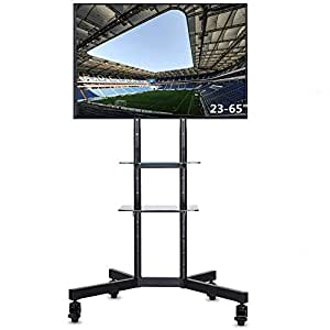 "UNHO Mobile Trolley TV Mount Floor TV Stand with Bracket Floating Double Glass Shelf for 23""- 65"" LED LCD Plasma Max VESA 600 x 400 88lbs Weight Capacity Adjustable Height"