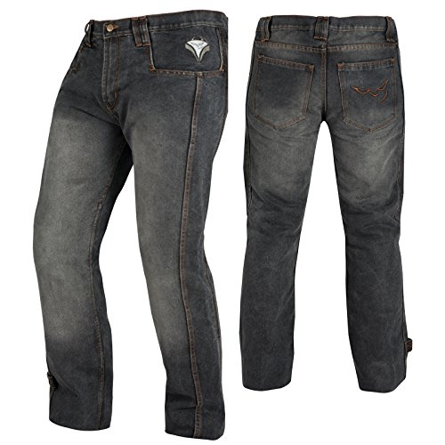 Jeans-Pantaloni-Moto-Scooter-Protezioni-CE-Omologate-Rinforzo-Fianchi-Nero-36