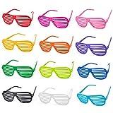 ZWOOS Gafas de Fiesta, 12 Pares Gafas de Sol de persiana Favores de Fiesta y Accesorios de Fiesta Creativa para Fiestas de Juguete Gafas de Sol Disfraz Gafas de Persiana para Fiesta Disfraces