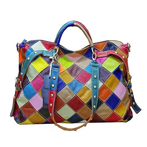 Segater® Damen Multicolor Einkaufstasche Rind Leder-Handtaschen Bunte Patchwork 2019 NEU TOP Bewertet Große Umhängetasche Hobo Taschen -