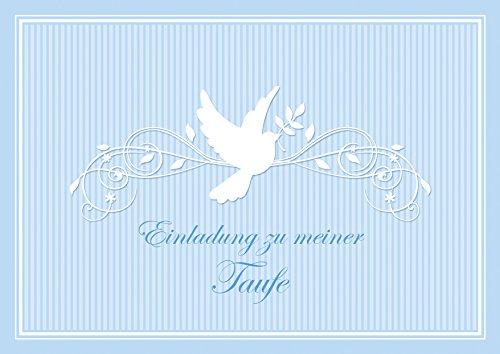"""Erhältlich im 1er 4er 8er Set: """"Einladung zu meiner Taufe"""" Schöne Einladungskarte zur Taufe (Klappgrußkarte/ Grußkarte/ Baby/ Taufkarte/ Geburt/ Babykarte/ Feier) für einen Jungen in Blau mit einem Ornament und Taube (Mit Umschlag) (4)"""