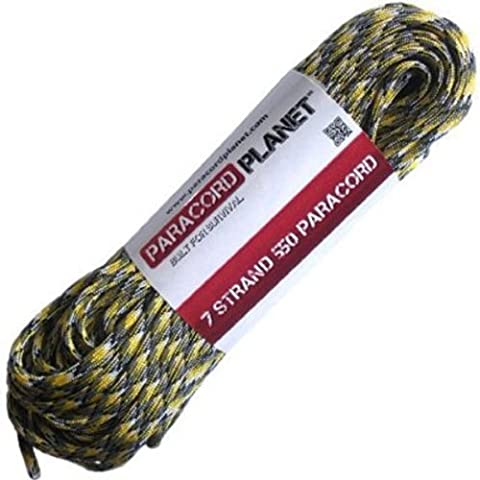Yellow Camo 50Ft 550lb Type III Paracord Survival Rope by PARACORD PLANET