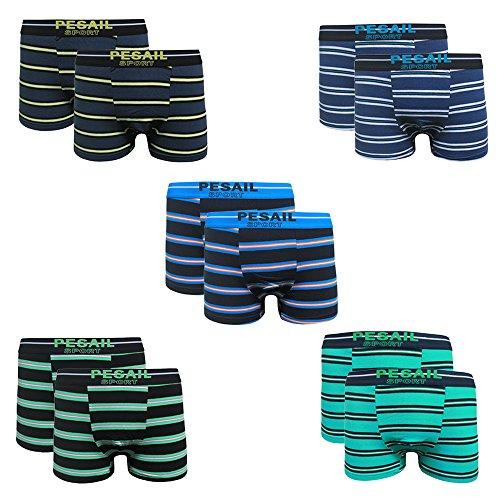 Pesail Boxershorts Herren Bunt Horizontal Streifen Baumwoll Unterwäsche Sport Retro Shorts Pants Unterhosen Männerunterwäsche Weich Größe M L XL XXL XXXL, 2-4-5-6-9-12er Pack (12er, Large)