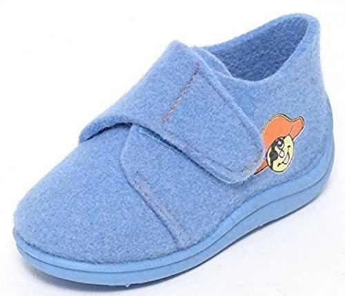 Filz Kinder Hausschuhe Gr.21-30 Klettverschluss Schuhe Puschen Pantoffeln Hellblau