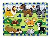 Melissa & Doug Holzpuzzle mit klobigen Teilen - Haustiere (8 Teile)