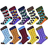TXGLGWA Herrensocken Neu Bunt Hochwertige Herrensocken aus Baumwolle Geometric Lattice Classic Business Casual Happy Socks Herren US 7.5-12 EUR 40-46 10 Paar Socken-N