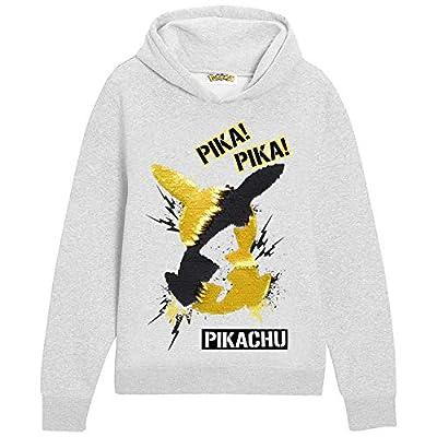 Pokèmon Sudadera Capucha para Niños, Suéter Manga Larga con Estampado De Lentejuelas Reversible, Sudadera Personaje de Pikachu, Niños y Adolescentes