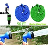 Dhyani 50 Ft Expandable Hose Pipe Nozzle For Garden Wash Car Bike With Spray Gun And 7 Adjustable Modes