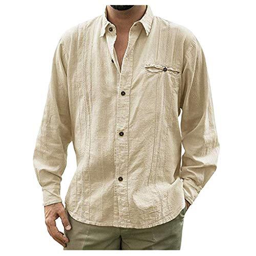 DNOQN Männer T Shirt Slim Fit T Shirts Sportbekleidung Herren Mode Herren Beiläufig Umlegekragen Knopf Solide Beach Langarm Top Bluse M