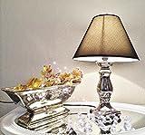 2 x Keramik Tischlampe CB 0469 Tisch Leuchter Silber mit Schirm Lampenschirm