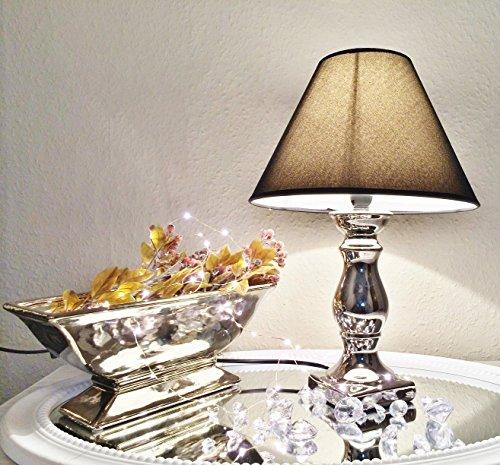 2 x Keramik Tischlampe CB 0469 Tisch Leuchter Silber mit Schirm Lampenschirm -