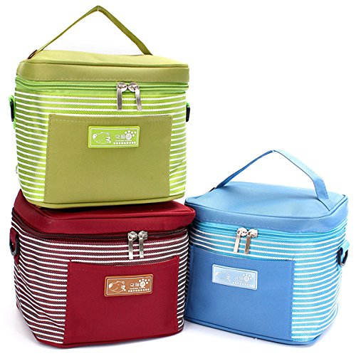 Aliciashouse Termica pranzo Box Storage portatile coibentati Picnic Carry Tote Bag Handbag-vino rosso - Giardino Strumenti Carry Bag