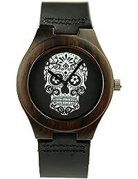 redear Hombres Punk de madera caso calavera Dial Negro Correa de piel yahe–Reloj analógico reloj de pulsera, Negro