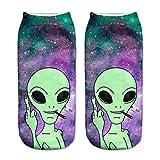 Liumiang Socken,Kompressionsstrümpf,NEW Arrival Women Low Cut Ankle Socks Funny Aliens 3D Printing Sock Cotton Hosiery Printed Socks
