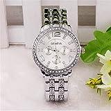 Hmjunboys Damen Uhren Edelstahl Armbanduhr Analog Quarz Einfach Design Rund Strass Casual Fashion Mädchen Legierung Uhren (Silber)