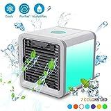 Teepao Portable Klimaanlage, USB Powered Verdunstungskühler 3 in 1 Personal Space Luftkühler Schreibtisch Fan Luftreiniger Luftbefeuchter mit 7 Farben LED-Leuchten