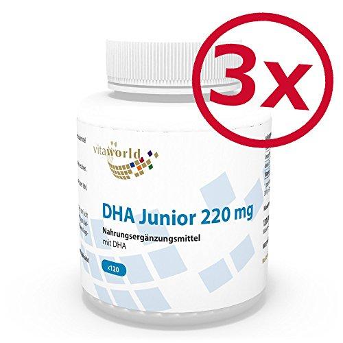 Junior 90 Kapseln (3er Pack Vita World DHA Junior 220mg 360 Kapseln Apotheken Herstellung für Kinder)