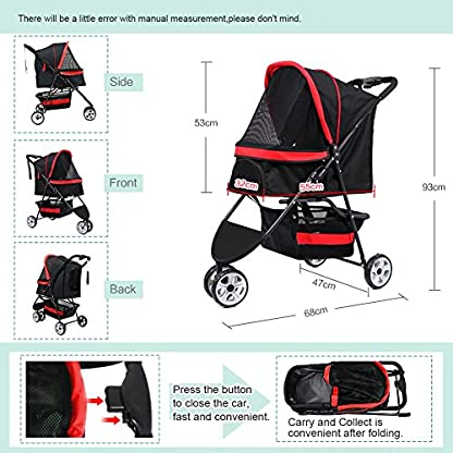 Pet Travel Stroller Three Wheels Cat Dog Pushchair Trolley,Puppy Carrier,Shockproof,Single Front Wheel 360° Rotation… 3